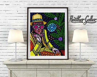 Elton John Art Print Poster by Heather Galler Music Icon Famous Musician Folk Art Yellow Brick Road