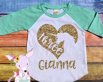 Unicorn Gold Birthday Shirt Raglan Glitter Mint Pink Gold Glitter Raglan Heart with Name Custom Birthday Shirt Glitter Raglan Birthday Shirt