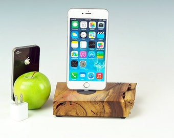 Wood Charging station for ANY iPhone, Natural live edge Walnut wood dock, iPhone 7 stand, 7 plus, Docking station, gift for him, USA, #756.