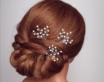 Pearl Hair Pins, Bridal Hair Pieces, Baby's Breath Hair Comb, Beaded Wedding Wreath, Pearl Hair Vine, Hairpieces