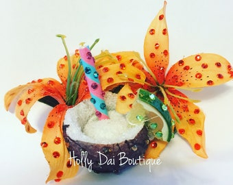 Tiki Drink Coconut Tropical Lily Hair Flower