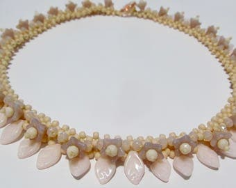 Handmade Floral Lace Style  Necklace By Sarah in Pastel Baby Rose Pink with Depression Glass Button