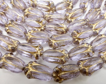25  Beautiful Transparent Lavender Glass Tulip Beads with Gold Accents  Size 8x12mm