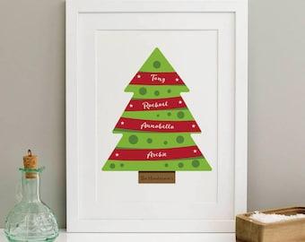 Personalised Christmas Tree Print | Christmas Print | Family Print | Festive Print | Print At Home | Digital Download | Printable Christmas