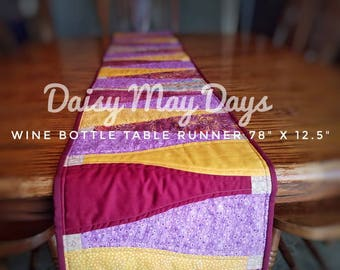 Wine Bottle Quilted Table Runner, Scrappy, colorful, Extra Long 78 in., Wine red, Purple, Yellow,  Orange, Festive, Holiday, Decor, Quilt