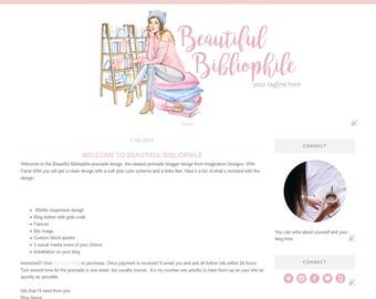 Blogger Template - Simple and Clean Blog Design - Blogspot Template - Bookish - Character Illustration - Beautiful Bibliophile