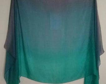 Blue Green Purple light weight Belly Dance Silk Veil or Yardage