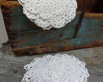 Eight Antique Crocheted Cotton Round Doilies