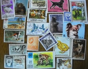 20 Used Vintage ANIMAL Postage Stamps for crafting collage altered art journals scrapbooks philately commemorative stamps 10g