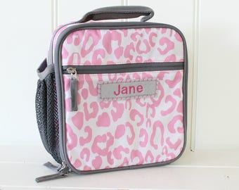 Lunch Bag With Monogram Classic Style Pottery Barn -- Pink/Gray Cheetah