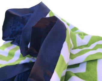 Stroller size Size Green and White Minky Chevron Baby Blanket with Flat Satin Trim
