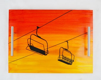 Chair Lift Sunset Stained Wood Serving Tray, Coffee Tray, Tea Tray, Espresso Tray
