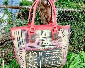 ON SALE: Tribal Immunity Basquiat Inspired  Hot Pink Hand painted Bogolan Mudcloth Design Vegan Faux Leather Tote with beads