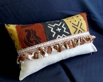 """20"""" x 12"""" African mudcloth bogolanfini accent pillow with fringe Handmade Artisan"""