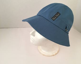 Blue Cotton bucket hat Bonjour 70s to 80s Vintage wide brim rain cap Women