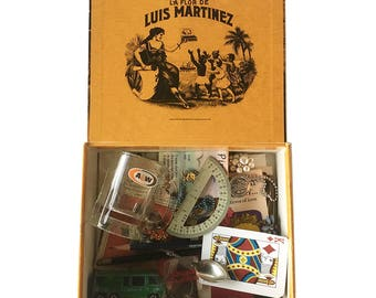Vintage Cigar Box Full of 1970s Trinkets & Treasures - 1970s Memory Box, Baby Boomer, Generation X Memories