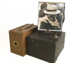 Unique Photo Frame - Up-cycled Vintage Box Cameras Made into Photo Frame, Old Cameras Picture Frame, Old Photo of Photographer