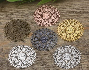 Wholesale 50 Filigree Floral 36mm Round Raw Brass/ Antique Bronze/ Silver/ Gold/ Rose Gold/ White Gold/ Gun-Metal Plated - Z7857
