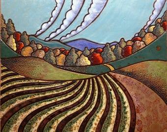 HARVEST FIELD Mosaic Art Tile, Hand Made Ceramic Wall Art, Custom Backsplash, Folk Art, Harvest colors,