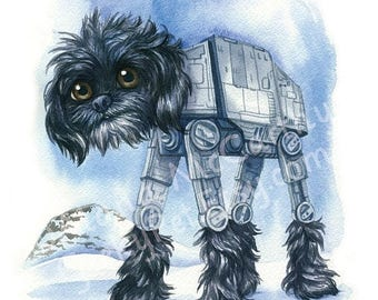 """SALE AT-AT Walker Dog - Watercolor 8x10"""" print"""