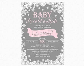 Baby Its Cold Outside Baby Shower Invitation, Winter Baby Shower Invitations Girl, White Snowflakes, Chic, Blue, Printable or Printed