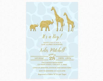 Safari Baby Shower Invitation, Gold Safari Baby Shower Invitation, Safari Theme Baby Shower, Blue, For Boy, Printed or Printable