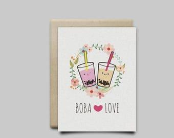 Bubble Tea Love Greeting Card, boba love card