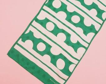 SALE 60s 70s Geometric Print Scarf // Mod Scarf // Vintage Scarf // Designer Scarf // Green Scarf // Silk Scarf // Echo Scarf