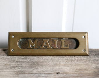Vintage mail box plate old mailbox brass mailbox flap