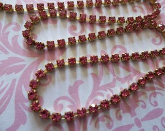 2mm Rose Pink Rhinestone Chain - Brass Setting - Preciosa Czech Crystals