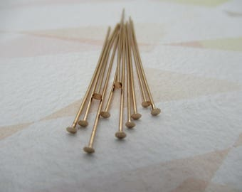 Rose Gold Plated Headpins - 1&3/8 inch (35mm) Head Pins - 22 Gauge - Flat End - Qty 10 *NEW ITEM*