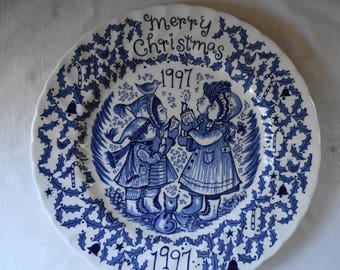 Vintage STAFFORDSHIRE ENGLAND CHRISTMAS Plate Cobalt Blue & White China Christmas Holiday Plate Cookie Swap Royal Crownford Artist Plate