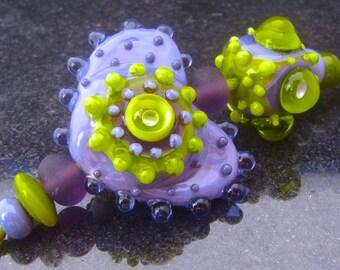 Lavender Heart  - Handmade Lampwork Bead Set (8) by Anne Schelling, SRA