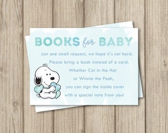 SNOOPY BABY SHOWER Bring A Book Insert Card, Books For Baby Card, Book  Request