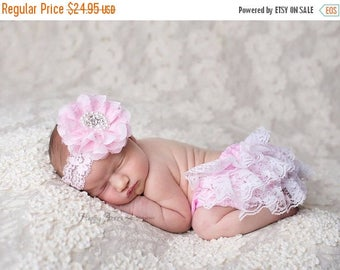ON SALE Pink Lace Bloomer and Headband Set, Baby Bloomers, Rhinestone Headband, Baby Girl Prop, Newborn Photography Prop