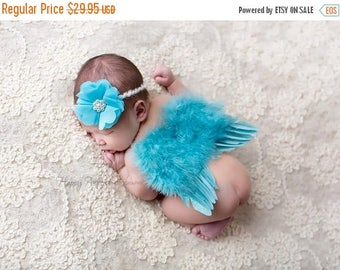 ON SALE Teal/Turquoise Feather wing set, wings and headband, feather wings, baby wings, baby girl prop, newborn photography prop....FREE Shi