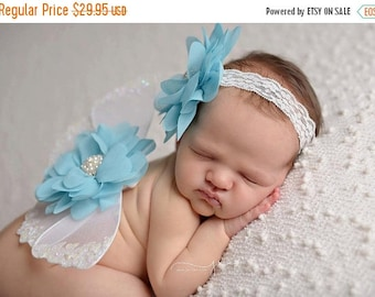 ON SALE White Wings and headband set, Glitter Wings, White and Turquoise Wing Set, Newborn Photo Prop, Baby Wing Set, FREE Shipping!!