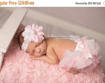 ON SALE Pink Tutu Bloomer and Headband, Pink Ombre Diaper Cover, Newborn Photo Prop, Baby Bloomers, Bloomer Set FREE Shipping!