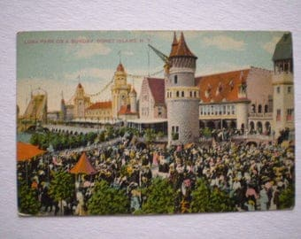 orig postcard Luna Park SUNDAY at CONEY ISLAND 1915