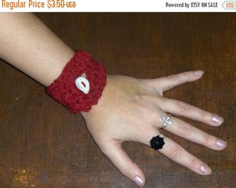 Country Barn Red Simple Dainty Wrist Cozy with Deer Antler Button