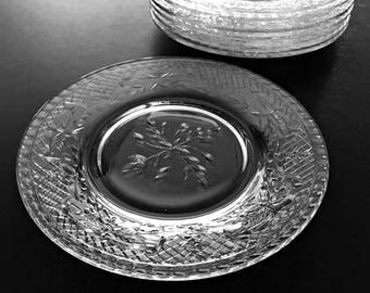 6 Vintage Crystal Plates Desert Plates Bread & Butter Plates Cut Glass Plates