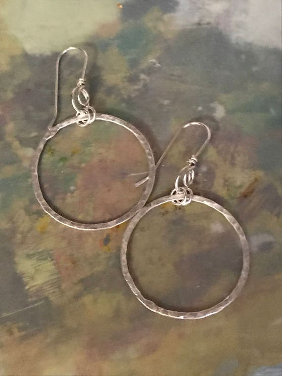 Fine Silver, Circle, Hoop earrings, Eternity earrings, round, hammered, Minimalist jewelry, Fine Silver .999 silver, fused circles by dmalia