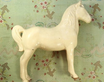 """Antique fabulous paper mache horse advertising display cream shade  momento Victorian 12 x 14"""" equine lover"""