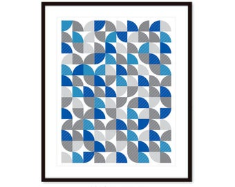 Geometric Print, Mid Century Wall Art, Modern Geometric Print, Modern Geometric Art, 8x10 on 8.5x11, frame not included, custom colors