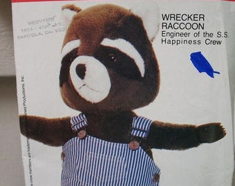 Butterick  4779 Wrecker RACCOON  Engineer of the S S Happiness Crew Vintage Stuffed Animal Pattern Uncut