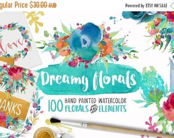 80% Off SALE Dreamy Florals Watercolor Clipart Bundle - Hand Painted flowers, leaves, wreath, and more