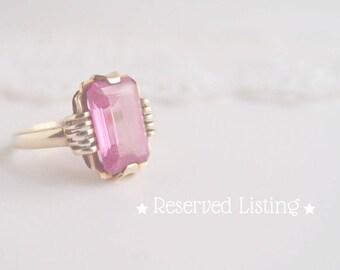 LAYAWAY Payment 3 of 4 : Art Deco Pink Topaz 10k yellow Gold Ring large 3.4 carat emerald cut genuine gemstone ... size 7
