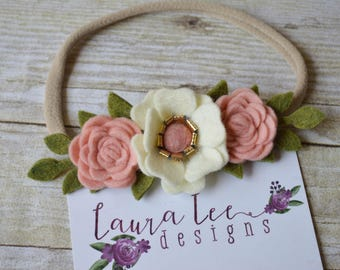 READY TO SHIP, Cream Blush Pink and Gold Felt Flower Nylon Headband, Baby, Newborn, First Birthday, Toddler, Mini Floral Crown, Infant