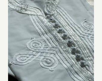SUMMER 10% OFF // Men's White Kaftan Shirt-great for resort wear, lounge wear, beach wear,for birthdays, Valentine's day gifts