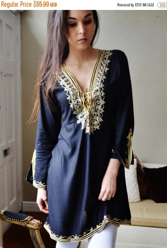 20% OFF Winter Sale// Autumn Tunic Black with Gold Embroidery Traditional Marrakech Tunic Dress - Casual wear, loungewear, resortwear